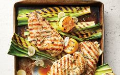 Grilled Lemon-Rosemary Chicken and Leeks from the Cooking Light Diet