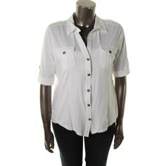 Style & Co. Womens Plus Cotton Cuff Sleeves Button-Down Top