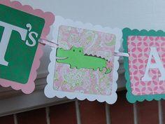 Alligator It's A Girl Banner, Girl Baby Shower, Preppy Alligator, Pink Green Baby Shower, Alligator Baby Shower, Girl on Etsy, $16.00