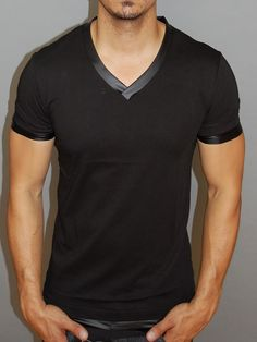 P&V Men V-Neck Faux Leather Sleeves T-Shirt - Black
