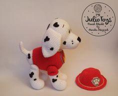 Dalmatian like Marshall from the Paw Patrol, pdf crochet pattern Amigurumi Free, Amigurumi Patterns, Felt Patterns, Knitting Patterns, Crochet Patterns, Crochet Animals, Crochet Toys, Free Crochet, Paw Patrol Marshall