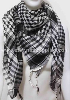 Black and White Original Royal Keffiyeh Shemagh by Natisupplies