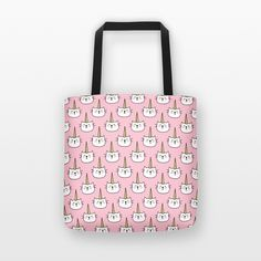 Shopping Tote Bag - Caticorn (Cat Unicorn) Pattern - Pink Tote Bag - Pink Bag - Unique gift idea for shopaholic cat lovers and unicorn lovers - Reusable grocery bag, shopping bag, shopper bag, market bag, shoulder bag, small beach bag, cute tote bag, cat tote bag, cat bag, cat accessories, cat lover gift, unicorn tote bag, unicorn bag, cat pattern - By HAPPY CAT PRINTS