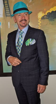 Van Gils windowpane check suit, Hudson Room shirt, Ted Baker tie, Big It Up fedora...