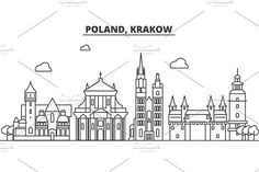 Poland, Krakow architecture line skyline illustration. Linear vector cityscape with famous landmarks, city sights, design icons. Landscape wtih editable strokes by urban icon on @creativemarket