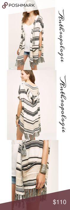 Calexico fringe poncho by Moth for Anthropologie 100% cotton hooded cape/poncho in a Creme,grey and black stripe, deep front pockets, fringe hem, perfect transition into Fall Anthropologie Sweaters Shrugs & Ponchos