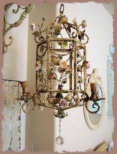 Rare French Tole Porcelain Rose Chandelier