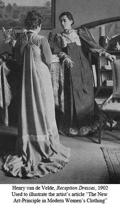 Image of woman's reform dresses, designed by professor henry van de velde. darmstadt, germany, 1902 by V&A Images 1900s Fashion, Edwardian Fashion, Vintage Fashion, Edwardian Clothing, Edwardian Era, Gothic Fashion, Historical Costume, Historical Clothing, Historical Dress