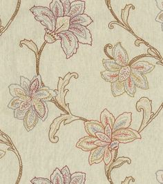 Upholstery Fabric-Waverly Mystical Embroidery Mulberry