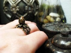 Bronze Filigree Adjustable Lotus Ring by chenincamille on Etsy, $15.00