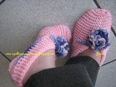 Agulhas e Pinceis: Pantufas de tricô - Sapatillas - COM RECEITA -  Knitted slipper