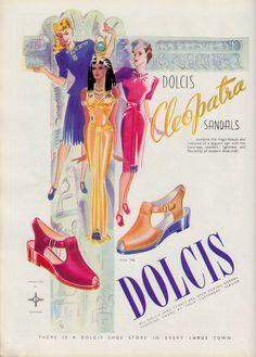 DOLCIS Cleopatra Sandals illustrated 40's  ad VOGUE (U.K) May 1946. (minkshmink…