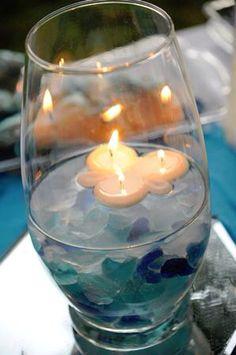 Seaglass centerpiece idea