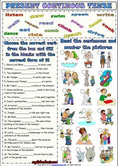Present Progressive Tense ESL Grammar Worksheet English Grammar Quiz, English Grammar For Kids, English Worksheets For Kids, Grammar Book, English Lessons For Kids, English Activities, English Language Learning, English Vocabulary, English Teaching Materials
