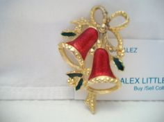 vintage red Christmas bells pin