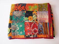 Vintage Kantha Patchwork Quilt Blanket Throw Queen Bedding Made With Vintage Cotton Saree