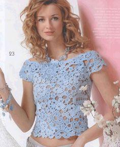Журнал мод 521 - aew Suntaree - Álbuns da web do Picasa Freeform Crochet, Irish Crochet, Crochet Lace, Crochet Summer, Crochet Tops, Shirts & Tops, Crochet Woman, Irish Lace, Crochet Cardigan