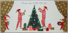 #26 60s GLITTERED Family Trims the Tree, Vintage Christmas Card-Greeting