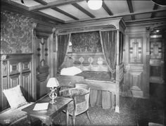 Historic photograph of Titanic's B 59, a stateroom done in the Old Dutch style