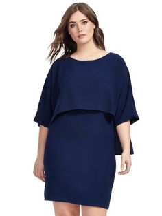 Plus Size ADRIANNA PAPELL Navy Ink Cape Back Dress