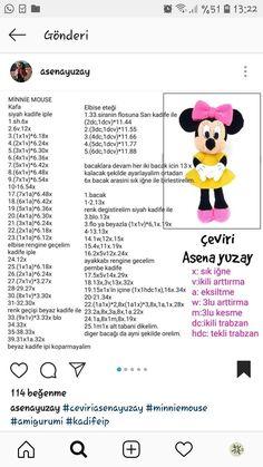 Minnie Mouse Crochet pattern - Disney crochet pattern - Amigurumi Knitting Toy PDF pattern - Mouse toys for kids - Amigurumi Disney Bunny Crochet, Crochet Doll Pattern, Crochet Dolls, Free Crochet, Amigurumi Free, Crochet Patterns Amigurumi, Amigurumi Doll, Crochet Mickey Mouse, Crochet Disney