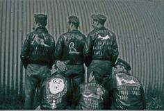 "Something I've never seen. B-17 crew from ""Rose Ettta""with individual art on each jacket. Usually the nose art of the plane was common to the crew's jackets. Steel Quonset hut in the background."