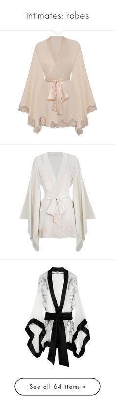 """intimates: robes"" by fallen-midnight ❤ liked on Polyvore featuring intimates, robes, lingerie, pajamas, sleepwear, kimono, nightwear, cream, gowns & kimonos and kimono robe"
