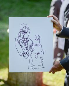 This creative couple dreamed up one unique unity ceremony: to draw a blind contour of each other while never looking down at the paper. In this way, they were able to focus on each other and demonstrate a mutual sense of humor.