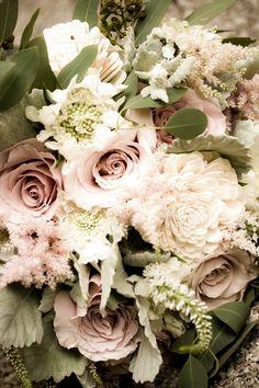 Courtenay Lambert Florals, Cincinnati Wedding florist.  Bouquets of Quicksand Roses, Scabiosa Flower, Dusty Miller, Seeded Eucalyptus, Astil...