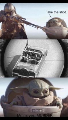 "New Baby Yoda Memes Suggest He's Responsible For All Kinds Of Violence - Funny memes that ""GET IT"" and want you to too. Get the latest funniest memes and keep up what is going on in the meme-o-sphere. Memes Humor, Dark Humour Memes, Funny Memes, Hilarious, Bts Memes, Yoda Funny, Yoda Meme, Sweet Romantic Messages, Dream Word"