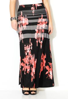 Floral Striped Maxi Skirt