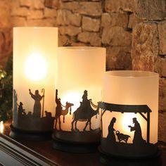 Nativity Hurricane Candle Holder Trio