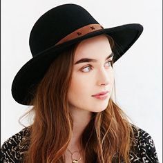 Urban Outfitters Brixton Byron Leather-Trim Hat Brixton X UO Byron Leather-Trim Hat Sold out and tag size is XSmall 6 3/4 54 CM Urban Outfitters Accessories Hats