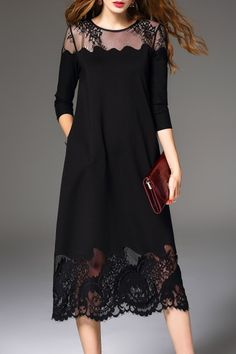 Daipya Black Lace Spliced Midi Dress | Midi Dresses at DEZZAL