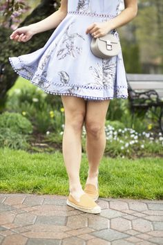 Tularosa Backless Floral Dress with Soludos Espadrilles and Chloe Drew Nano