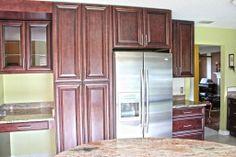 Fabuwood Cabinetry Merlot Glaze Elite Door Style Kitchen Pantry Refrigerator Build Out Kitch Fabuwood Cabinets Kitchen Cabinets Prices Cabinet Door Styles