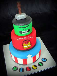 Really Cool Avengers Birthday Cake - http://mycakedecors.com/really-cool-avengers-birthday-cake/