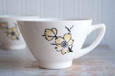 Stetson Vintage China, tazas de té de la década de 1950, Cornejo flores, Marcrest USA Set 4, Tea Party, estilo asiático, cocina Bohemia, blanco negro amarillo