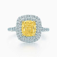 *****Tiffany Soleste® ring in platinum and 18k gold with a yellow diamond.   8,050