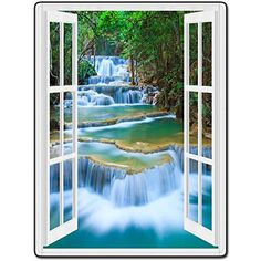 Shower Curtain 66 X 72 Inch Door Window Landscape Streams Waterfalls Printing Polyester Fabric
