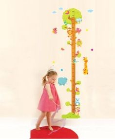 wall decoration stickers -YYone Cartoon Tree Height Chart Measurement with Animals Wall Decal Sticker Decor