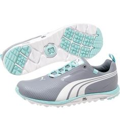 #puma grey and aqua blue Faas Spikeless ladies golf shoes