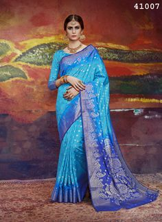 aaba3119e12 Blue Saree Sari Indian Bollywood Wedding Women Nylon Silk Festive Party Wear  Top  fashion