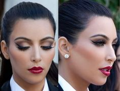 kim kardashian heavy contoured eyes, black liquid liner, red shiny lips : love the look. unknown source