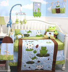 SoHo Froggies Party Baby Crib Nursery Bedding Set 13 pcs included Diaper Bag with Changing Pad & Bottle Case