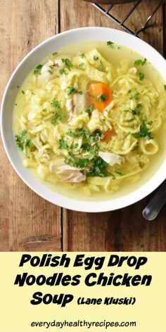 Polish egg drop chicken soup is made using homemade egg drop noodles and simple . - Polish egg drop chicken soup is made using homemade egg drop noodles and simple Polish chicken soup - Polish Chicken Soup Recipe, Polish Soup, Chicken Soup Recipes, Mulligatawny, Cooking Recipes, Healthy Recipes, Healthy Eats, Polish Recipes, Polish Desserts
