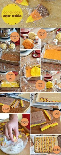 Candy Corn Sugar Cookies food cookies dessert recipe thanksgiving recipes thanksgiving recipes food tutorials