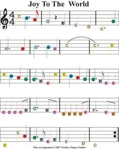 "Christmas Sheet Music For Guitar | Easy Guitar Songs Color Coded Christmas Sheet Music for ""Joy To The ...:"