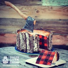 The axe is made of chocolate and fondant!