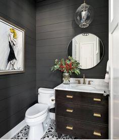 Tips for Using Dark Moody Paint Colors -Wall color is Sherwin Williams Iron Ore Dark Paint Colors, Favorite Paint Colors, Wall Colours, Grey Paint, Bathroom Flooring, Bathroom Wall, Bathroom Ideas, Bathroom Designs, Bathroom Gallery